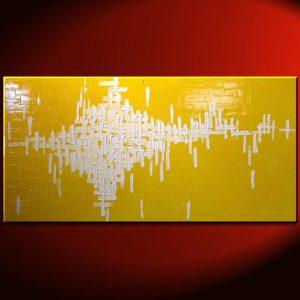 Abstract Painting Yellow Large Bright Happy Modern Original Knife Art Sunshine Yellow Uplifting 48x24 Custom