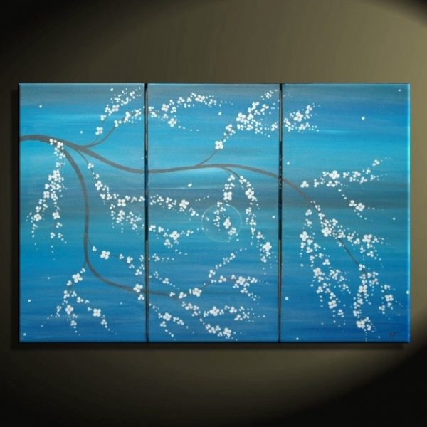 Acrylic Original Painting Blue Modern Art Cherry Blossom Chinese Zen Style Original Art Custom Triptych Painting Multiple Canvases 45x30