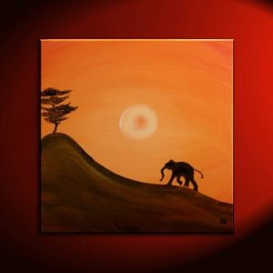 African Baby Elephant Silhouette Painting Acacia Tree Art Original Hill and Sun Orange Yellow Custom 30x30
