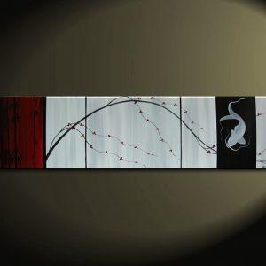 Asian Cherry Blossom and Koi Fish Painting Deep Rich Red White and Black Chinese Zen Style Original Art Custom 60x16