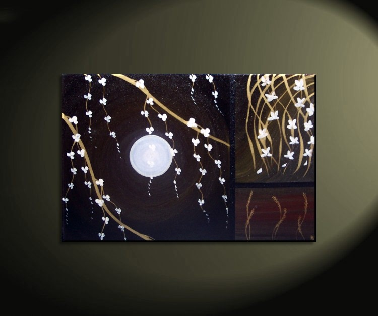 Black modern acrylic painting blossoms orchids and wheat for Custom acrylic paint
