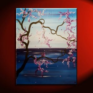 Cherry Blossom Seascape with Love Birds Blue and Purple Original Painting Beautiful Art 32x26