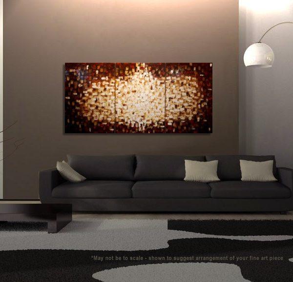 Custom Textured Painting Brown Red Modern Abstract Art Yellow White Sun Burst Original Big Palette Knife Art 72x36