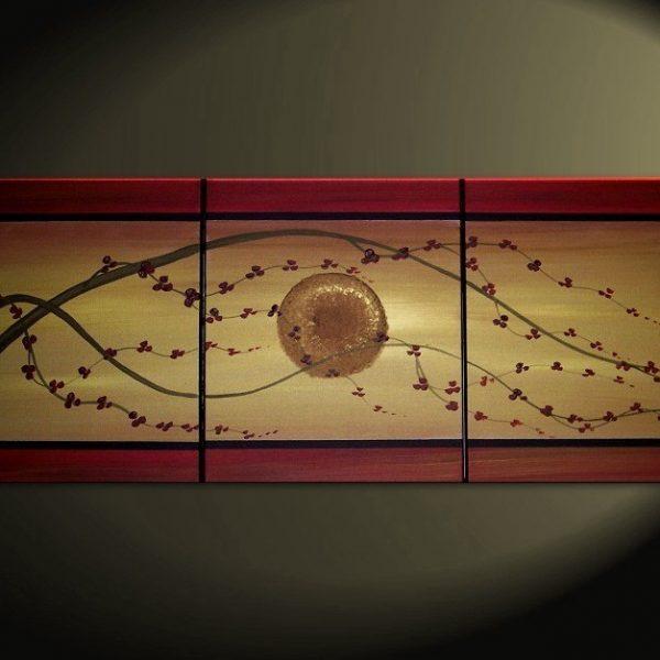 Golden Cherry Blossom Acrylic Painting Deep Red Flowers Asian Zen Tree Art customize size CUSTOM 48x20
