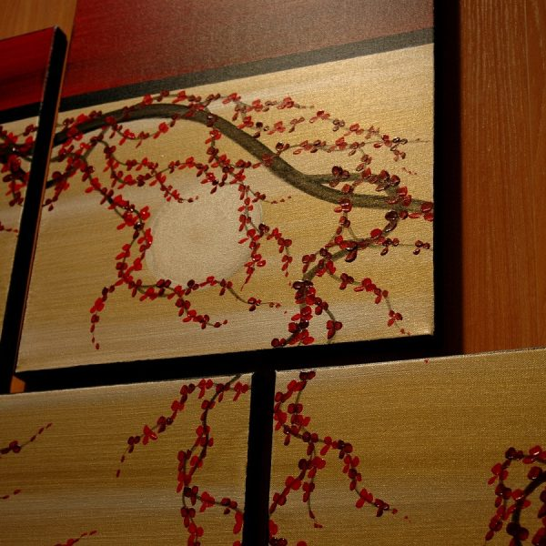 HUGE Zen Wall Art Red and Gold Large Painting Contemporary Abstract Asian Fusion Gnarly Plum Blossom Art Custom 56x40