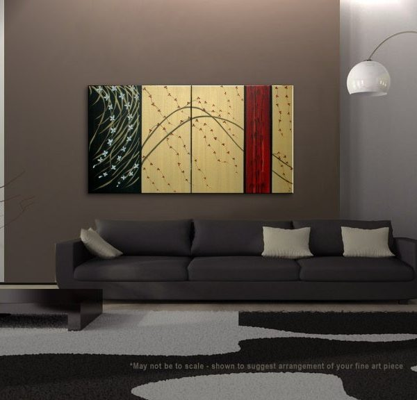 LARGE Cherry Blossom Painting Gold Red Black Abstract Modern Art Zen Asian Calming Contemporary Wall Art Bamboo & Wild Orchids Custom 60x30