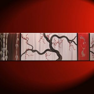 Large Koi Fish Painting Chocolate Brown Grey and Red Cherry Blossom and Bamboo Original Abstract Asian Zen Art 60x16 Custom