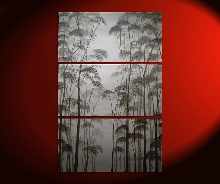 Large tree painting black and white art aspens zen asian for Black and white tree mural