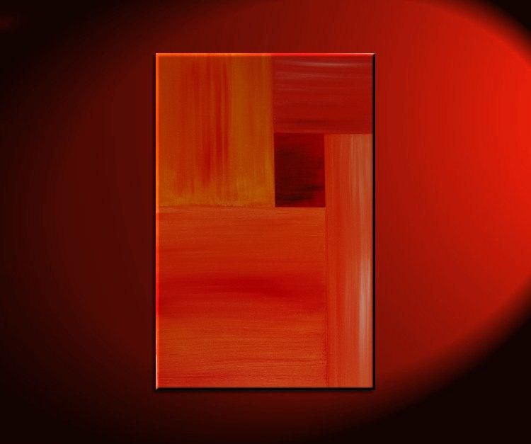 Orange modern abstract painting red accent color urban - Couleurs chaudes en peinture ...