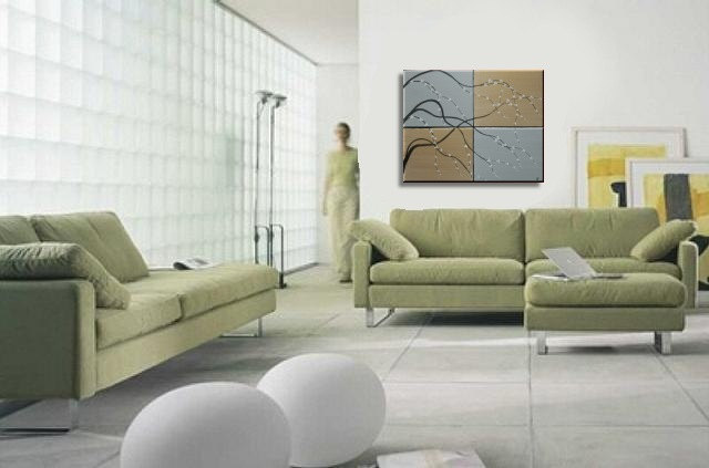 How To Hang Multiple Pictures On Wall painting on canvas gold and silver artwork cherry blossoms wall