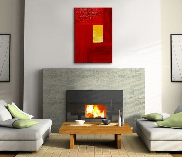 Red Modern Abstract Painting Yellow Accent Color Urban Original Art on Stretched Canvas Featured on TV Custom Version 24x36