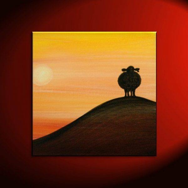 Sheep Silhouette Painting Sunset Calming Happy Lamb Art Original Orange Yellow Black Funny Whimsical Custom 30x30