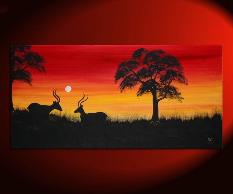 Red Sunset Acrylic Painting