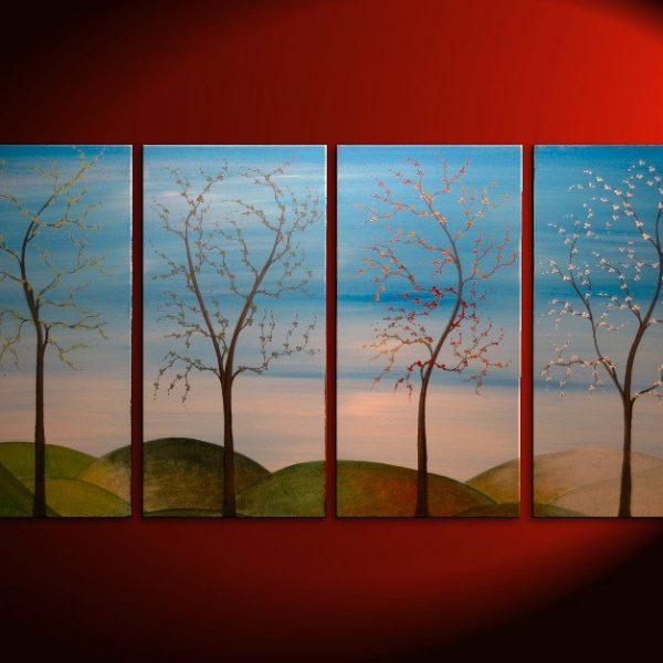 Tree Painting Four Seasons Blossom Original Art Spring Fall Summer Winter On Trend Stylish Home Decor Large CUSTOM 60x30