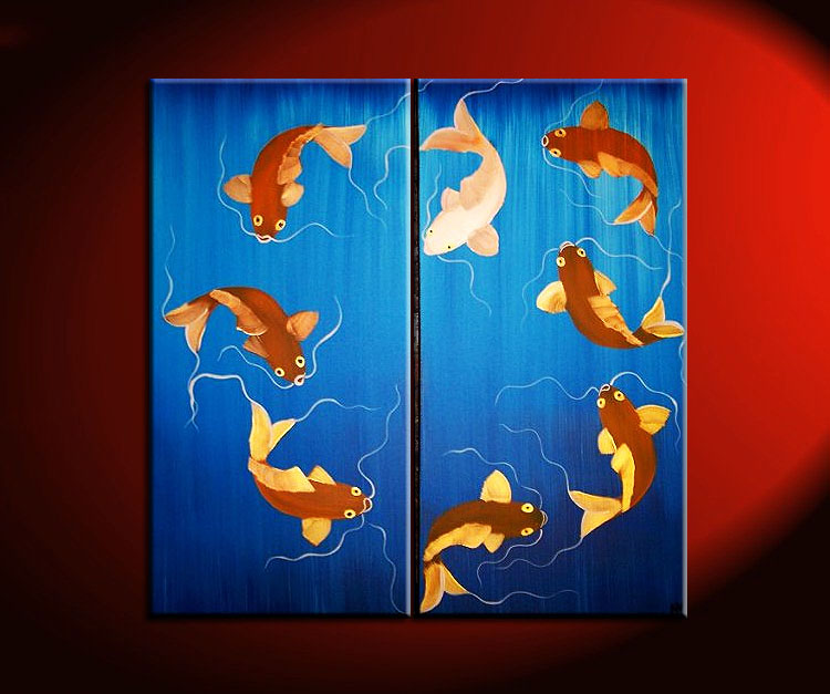 704 koi pond orange and blue art 30x30 art by nathalie van for Blue and orange koi fish