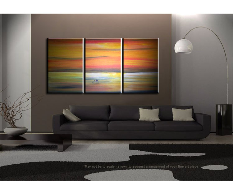 Abstract seascape desert landscape painting camel sunset for Home decor 72