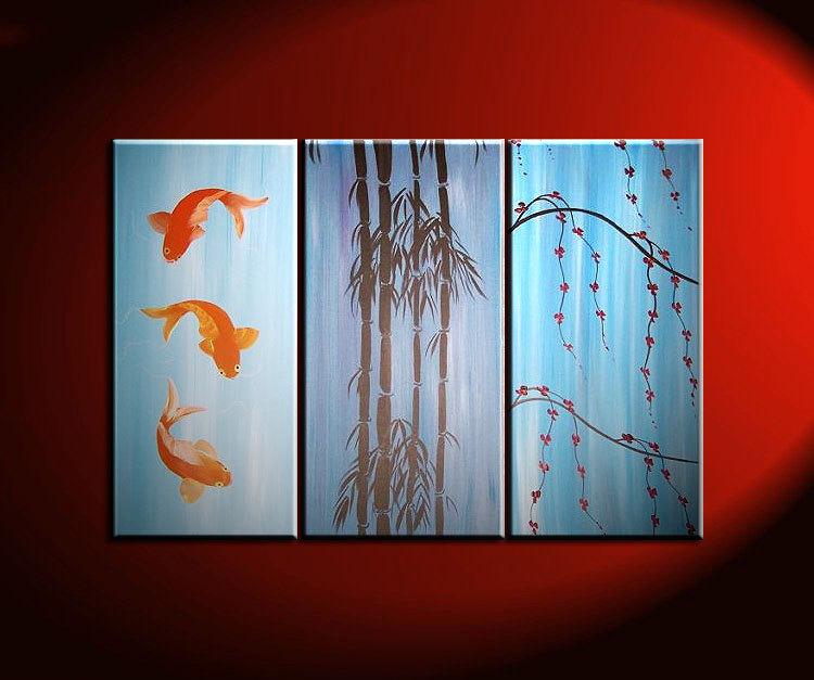Beautiful Koi Fish Painting In Blues Triptych Wall Art