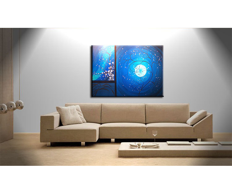 Cherry blossom grasses moon and plum blossom painting for Blue wall art