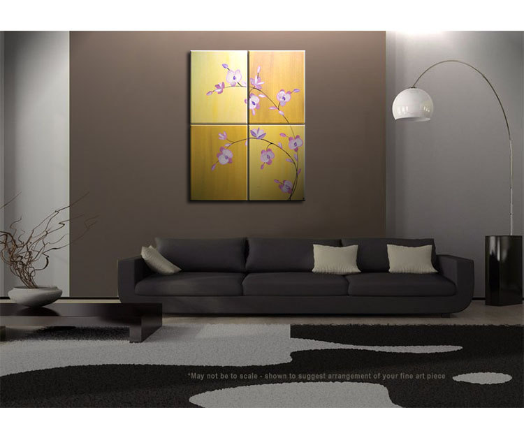 large acrylic orchid painting zen asian yellow golden warm colors flower floral wall art home. Black Bedroom Furniture Sets. Home Design Ideas