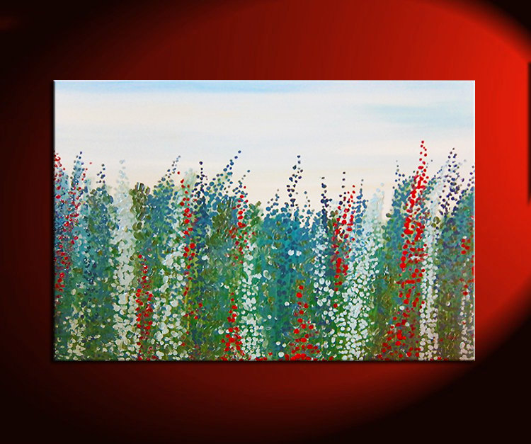 large salvia flower painting zen field blossoms green blue red white original art floral artwork