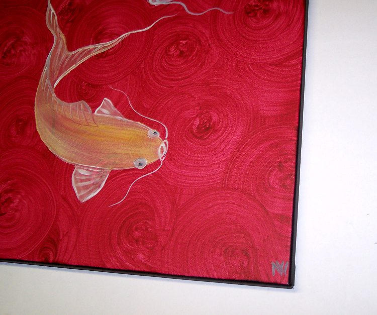 Red koi fish painting chinese zen wall art style original for Koi carp wall art