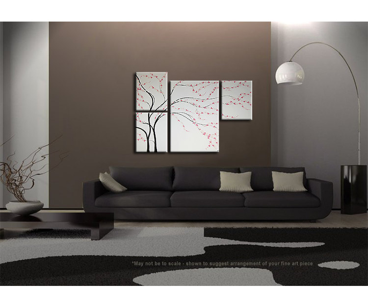 Unique Original Painting Black And White Wall Art Cherry