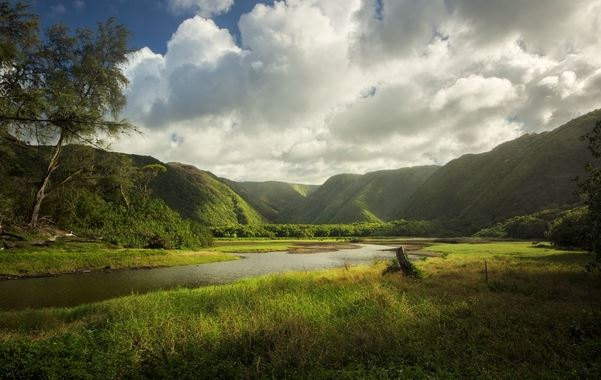 Sunlit valley with a river and clouds in Polulu Valley Hawaii