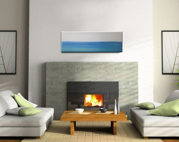 36x12 Abstract Seascape Painting Blue White Turquoise Calm Ocean Waters Art Ships Immediately