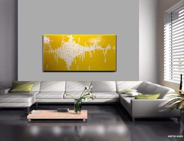 Abstract Painting Yellow Large Bright Happy Modern Original Knife Art Sunshine Yellow Uplifting 48x24 Custom