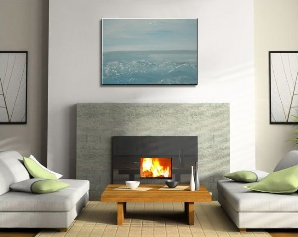 Abstract Seascape Painting Light Blue Grey White Turquoise Textured Impasto Art Ships Immediately 36x24