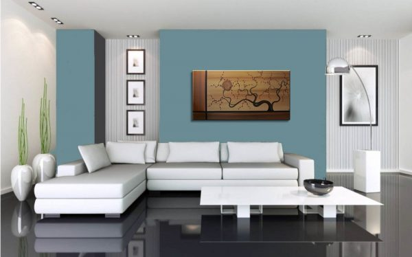 Abstract Tree Painting Large Earth Tones Brown Copper Gold Tan with Burgundy Blossoms Elegant Art 48x24 Mails Quickly