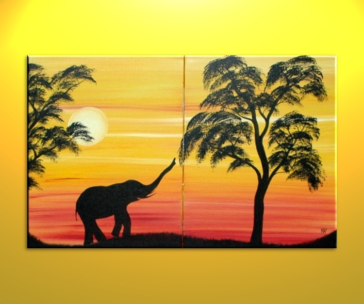 African Elephant Silhouette Painting Sunset Tree Art Original Dusk Evening Sun Over Two Canvases Mood Setting