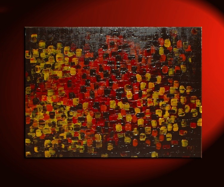 Art For Office HUGE Textured Abstract Acrylic Painting Red Brown Yellow  Orange Autumn Colors Original Palette