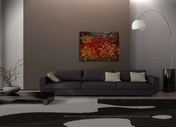 Art for Office HUGE Textured Abstract Acrylic Painting Red Brown Yellow Orange Autumn Colors Original Palette Knife Impasto Custom 40x30