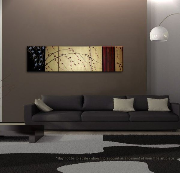 Asian Abstract Painting Large Custom Zen Gold Red and Black, Bamboo, Cherry Blossoms and Wild Orchids HUGE Original Art 60x16
