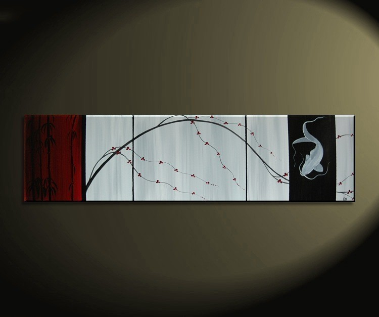 Asian Cherry Blossom and Koi Fish Painting Deep Rich Red White and Black Chinese Zen Style Original Art Custom 60x16