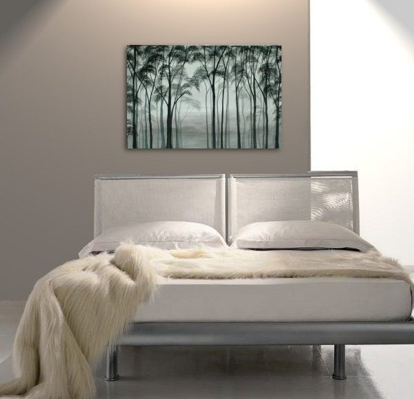 Aspen Tree Painting Black and White Greyscale Monochrome Art Calming Colors Modern Abstract Contemporary Original Art Realism Custom 36x24