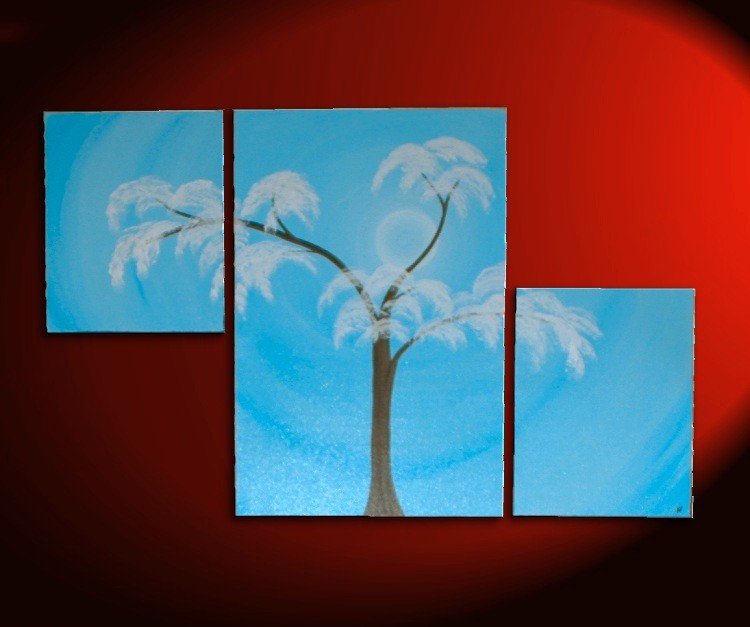 Aspen Tree Painting Modern Abstract Triptych Art Huge