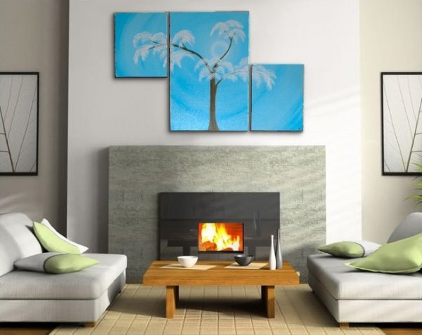 Aspen Tree Painting Modern Abstract Triptych Art Huge Original Artwork Large Light Blue Asymmetrical Multiple Canvases 56x36