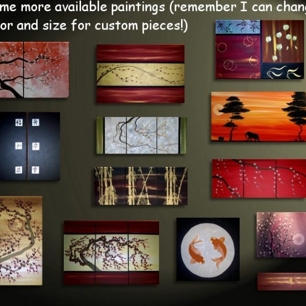 Bamboo Art Triptych Painting Black and Gold Original Masculine Colors Asian Style Zen Chinese Painting Sunset 48x20 Custom