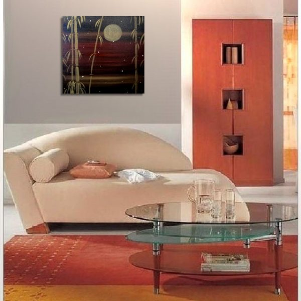 Bamboo Painting Winter Art Triptych Painting Black and Gold Original Asian Style Zen Chinese Painting Sunset 18x18