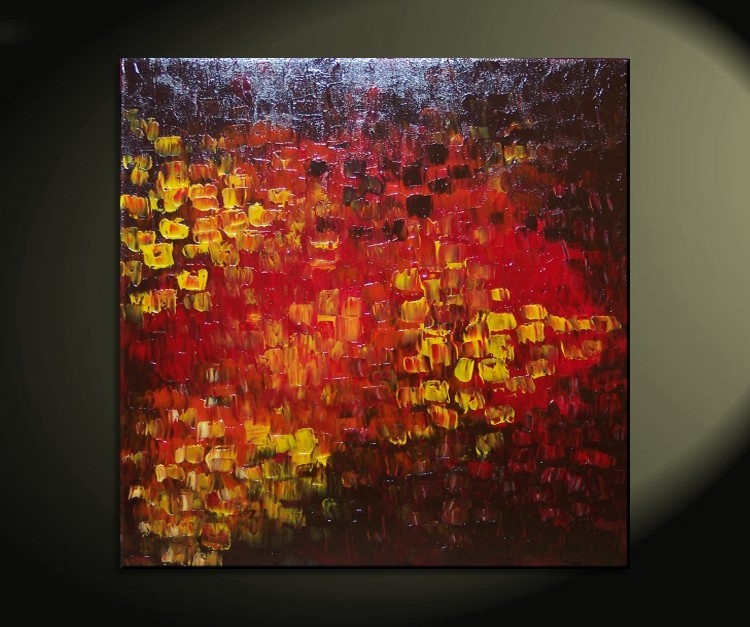 Big Abstract Textured Painting Red Red Brown Orange Fall Colors Original Palette Knife Impasto Art Large Custom Version 30x30