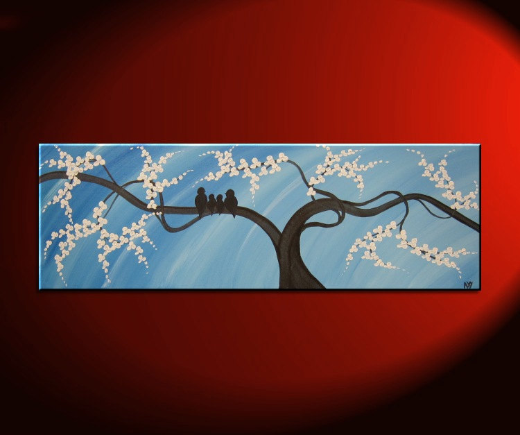Bird Family Painting Original Modern Textured Tree Blossom Art Blue Sky on Stretched Canvas Ready To Ship 36x12