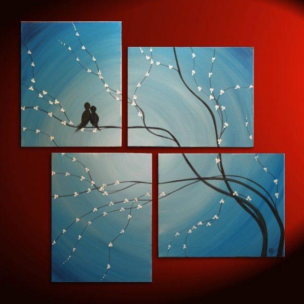 Bird Painting Very Large Painting Love Birds Wall Art Sky Blue Cherry Tree Branch Custom Huge Artwork 68x72