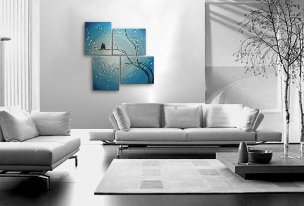 Bird Painting Very Large Painting Love Birds Wall Art Sky Blue Cherry Tree  Branch Custom Huge