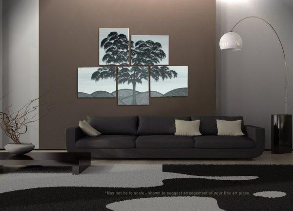 Black and White Painting Tree Art Large Modern Abstract Original HUGE Peaceful Art MONOCHROME Custom 56x40
