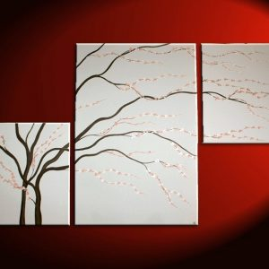 Black and White Painting Wall Art Cherry Blossom Art Elegant Modern Abstract Huge Original Spa Home Decor Custom 56x36
