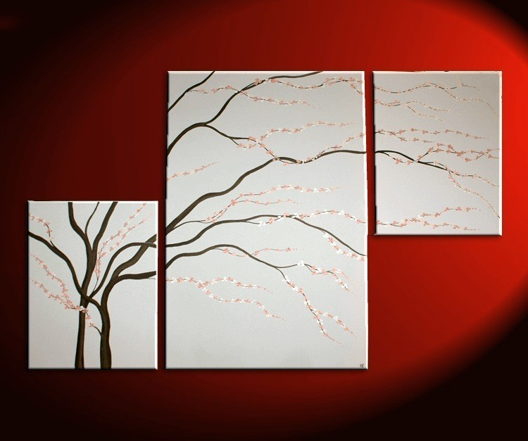 Black and White Painting Wall Art Cherry Blossom Art Elegant Modern Abstract Huge Original Spa Home Decor Custom 56x36