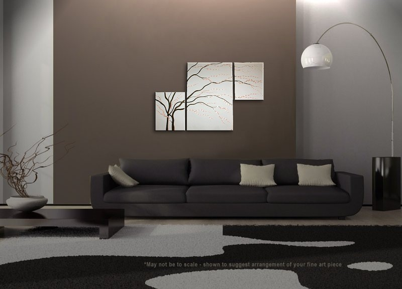 black and white painting wall art cherry blossom art elegant modern abstract huge original spa. Black Bedroom Furniture Sets. Home Design Ideas