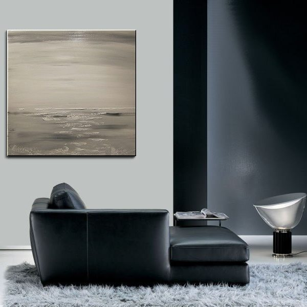 Black and White Seascape Abstract Seascape Painting Oceans with Tinge of Sepia Monochrome Wall Art 30x30 Square Mails Fast